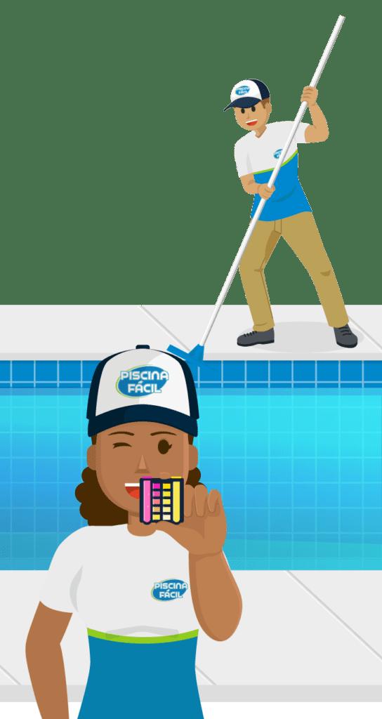 Análise química e limpeza física de piscina