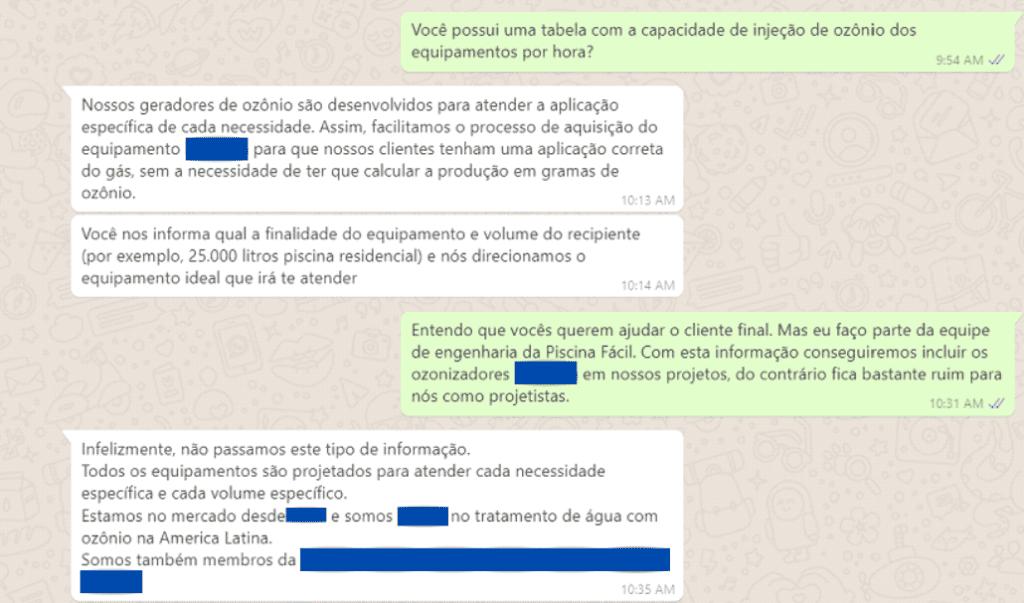 conversa de whatsapp sobre ozônio
